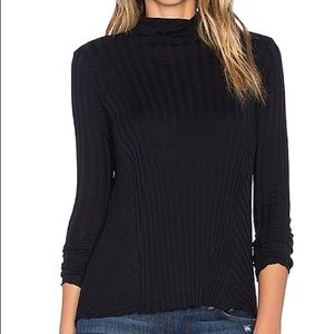 Enza Costa Cashmere Flare Ribbed Turtleneck Top
